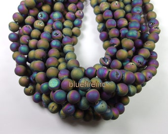 Druzy Rainbow Titanium Coated Agate Beads, 12mm Round