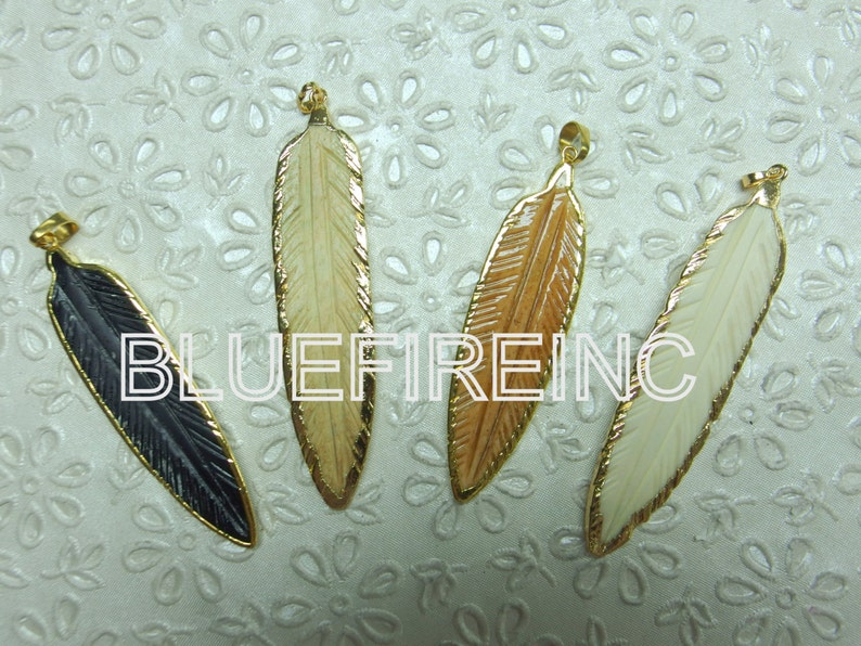 Bone Carved Feather Pendant With 24k Yellow Gold Edge Etsy