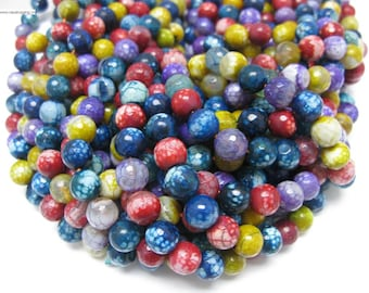 37pcs 10mm facted multi color agate beads