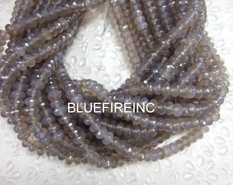 6x8mm Natural color Grey Agate Faceted Rondelle Grey beads in Full strand