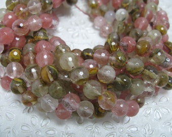 37 pcs 10mm round faceted golden stawberry quartz beads