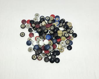 10 Lamb Leather Covered  Buttons O60 Oval Shaped FLAT Back Random Color Assortment; crafters; scrapbooking; arts and crafts; HALF BALL