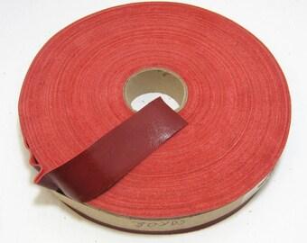 edge binding 1000NLA trim 1 Flat leather tape Lamb Leather Binding in FIRE RED Lambskin 3 YDS