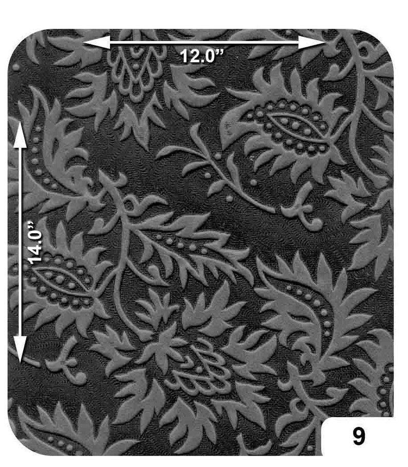 Black Cowhide Embossed Leather Piece floral; crafting; leatherworking; scrapbooking; leather crafts; costumes; role play; DIY; E9-4