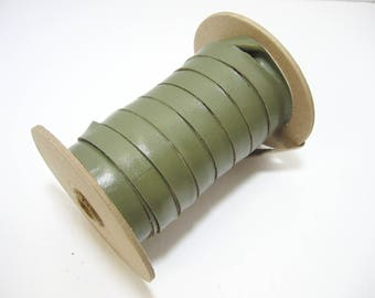 """1/2"""" Flat Khaki Olive Green Cowhide Leather Strap (5 yds) 0500NC9 Thickness 0.035"""""""