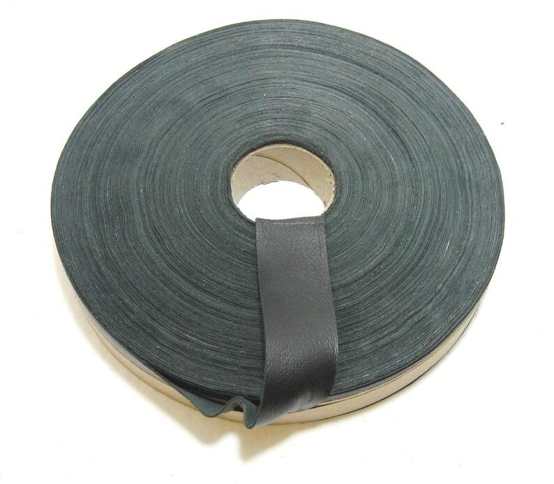Lamb Leather Binding in Black Lambskin edge binding 1 Flat 1000NLA leather tape trim 5 YDS