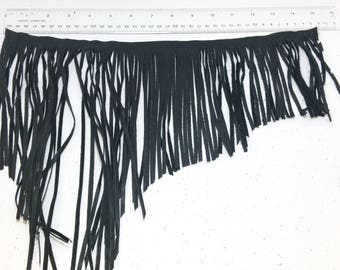 "Asymmetrical Cowhide Fringe Trim in Black 1500 Nappa Garment Leather  15"" long"