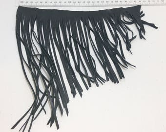 "Asymmetrical Cowhide Fringe Trim in Black 1500 Nappa Garment Leather  10"" long"