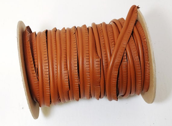"""GENUINE LEATHER PIPING Welting Trims 1//2/"""" No Cord Slashed Edge  Black 36 yds"""