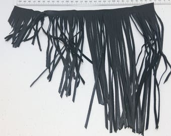 "Asymmetrical Cowhide Fringe Trim in Black 1500 Nappa Garment Leather  11.5"" long"
