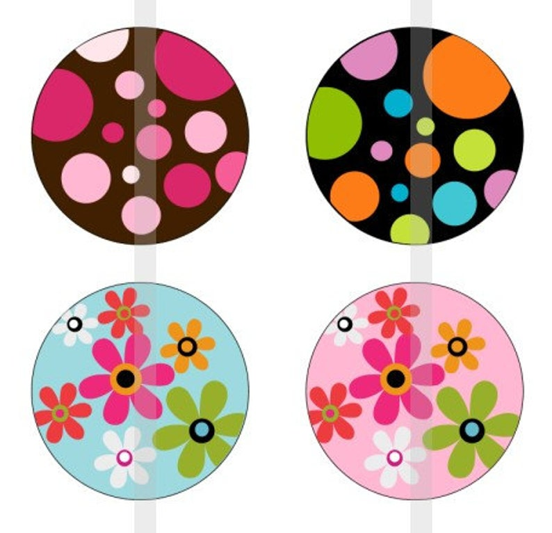 one 4x6 inch digital sheet of 1 round images for bottlecaps Flowers and Polka Dots glass tiles stickers etc