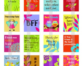 Friends Forever - one 4x6 inch digital sheet of scrabble size (0.75 x 0.83 inches) images for scrabble tiles