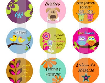 "Friends Forever - one 4x6 inch digital sheet of 1"" round images for bottlecaps, glass tiles, pendants, magnets etc."