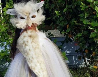 a8673f63d6 SNOW OWL Costume Girls Halloween tutu halter dress, mask, shawl for Toddler,  Child kids costume