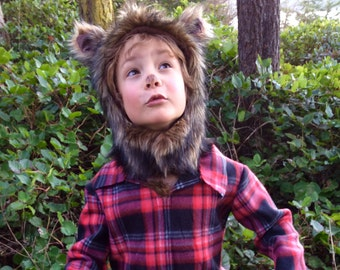Werewolf Halloween Costume kids costume hood, boys costume, girls costume Hood and plaid shirt