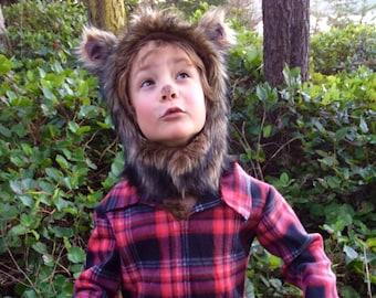 Werewolf Halloween Costume kids costume hood, boys costume, girls costume Hood and plaid shirt
