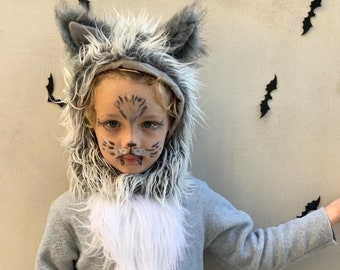 Grey Wolf Costume Toddler Boy Halloween Costume, Toddler Girl Halloween Costume Childrens Outfit, hood and suit Wolf Costume