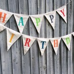 Fabric Birthday Bunting Banner multi colored Happy Birthday Party Decoration Family Banner Party Banner Bunting Flags Birthday Decoration