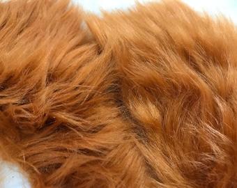 Fur Fabric Scraps Grab Bag Faux Fur 1 Pound Bag Amber Rust color Fox Fur