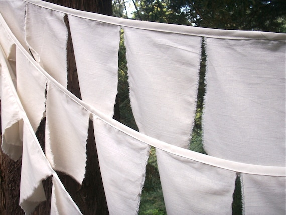 Prayer Flag Bunting- 3 Strands of Natural Cotton Flags Ready