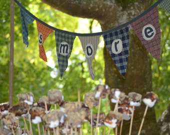 Bunting Flags Camping theme party SMORES plaid handmade look PERSONALIZE or CUSTOMIZE flags