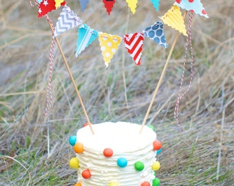 Cake Bunting Smash Cake topper custom colored hand painted fabric flags Personalized