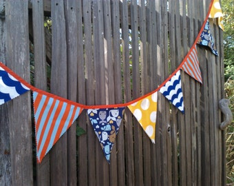 Bunting Flags Nautical Red, Blue, Yellow and Turquoise Whale Fabric Large size for Birthday Party, Nursery, Photo Prop