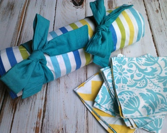 Picnic Blanket with 4 napkins ON SALE Modern Fabrics, yellow, blue, aqua  Wedding Gift housewarming gift beach blanket