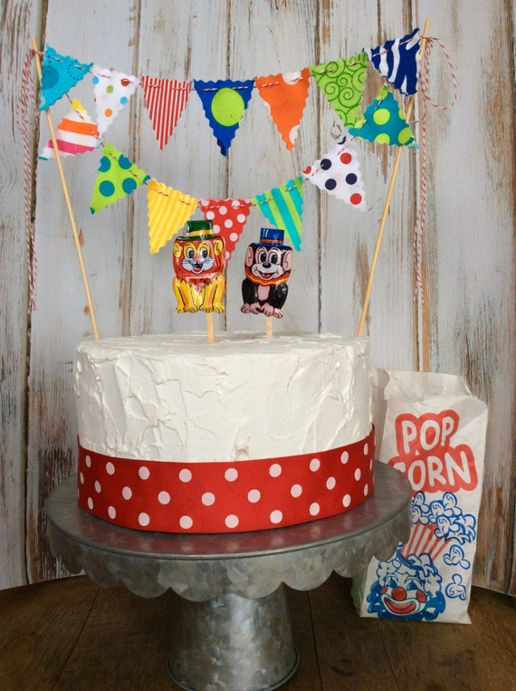 Cake Bunting Circus Theme Multi Colored Polka Dots Stripes And