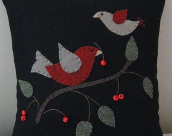 Primitive Birds and Berries Wool Applique Pillow Hand Made