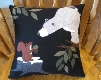 "Bear and Squirrel Whimsical Wool Applique Handmade Pillow ""Greedy Encounter"""