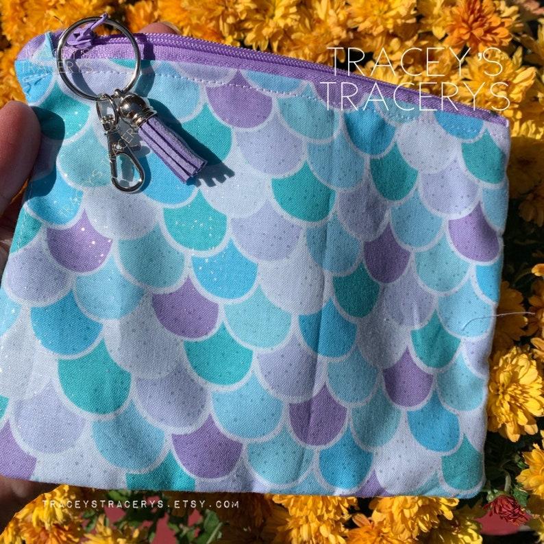 Mermaid Scales Zipper bag Zipper Pouch Pink Blue Bag Purple RTS Handmade bag Project Bag