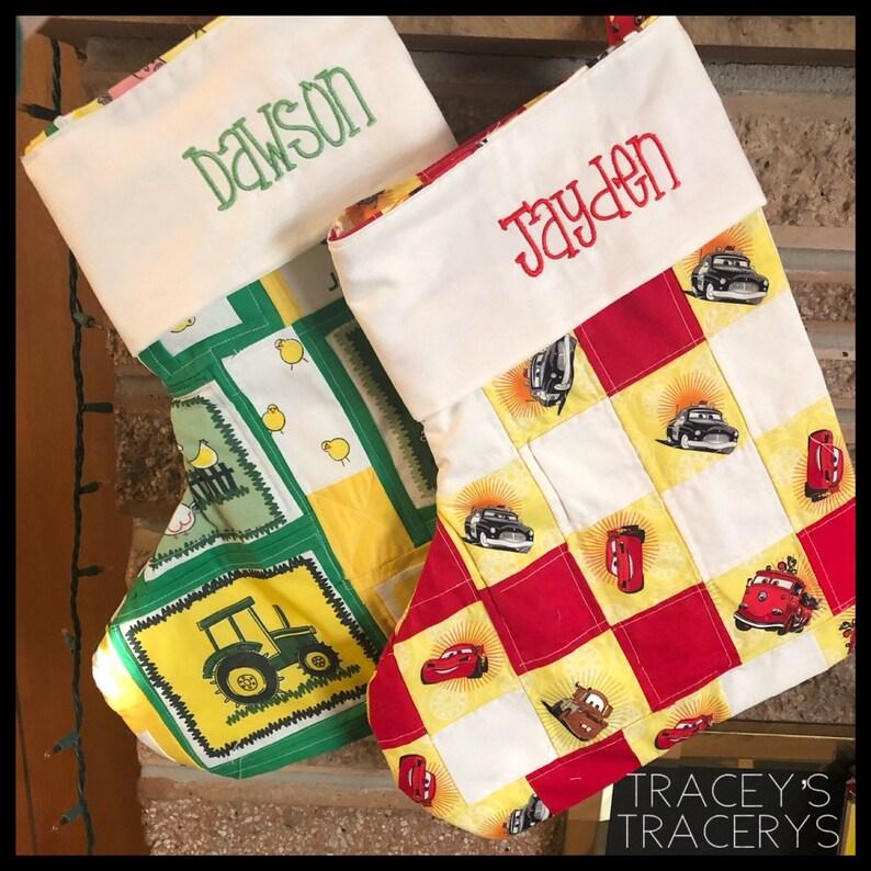 Handmade Christmas stocking, Custom made Christmas stockings with machine embroidered name Christmas stocking
