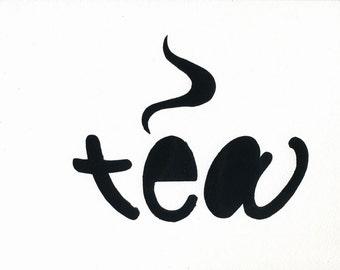 """Tea 8""""x10"""" hand-pulled silkscreen word art print"""