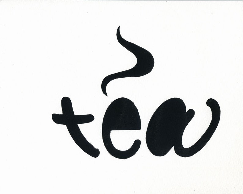 Tea 8x10 hand-pulled silkscreen word art print image 0