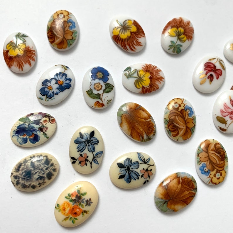 Vintage Flower Cabochons Limoges 1813 Coral Pink  Blue Yellow Gold Brown Rainbow Floral Motif 18x13 Cabs C4-2