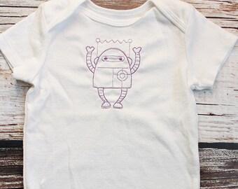 Purple Robot Embroidered Onesie