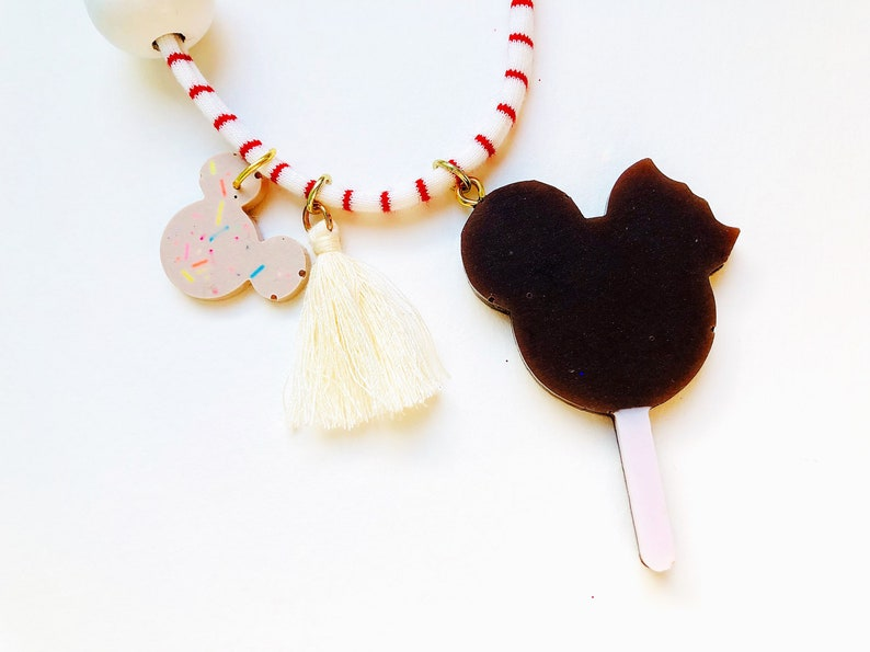 Tassel and Tulle Bow on a RedWhite Striped Jersey Cord Mouse Ice-Cream Pop Resin Necklace with MAGIC Beads Candy Mouse Head