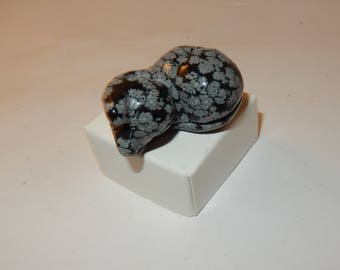 Snowflake Obsidian curled up cat- medium