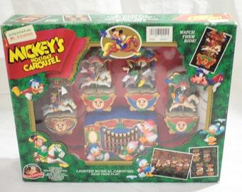 Vintage Disney Mickey's Holiday Carousel Lighted Musical 21 Christmas Carols Christmas Songs Mr Christmas