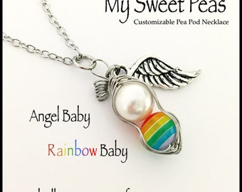 04be9642517f RAINBOW Baby Sweet Pea...Baby after Miscarriage   Infant Loss  NECKLACE....Remember and Honor your Angel and Rainbow Babes