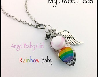 358322eec5db NEW- Swirl Angel Sweet Pea - RAINBOW Baby Sweet Pea...Baby after  Miscarriage   Infant Loss NECKLACE....Honor your Angel and Rainbow