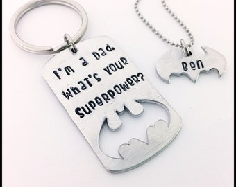 46a30f71aa1f I m a Dad. What s Your SUPERPOWER  Keychain and Necklace Set....Hand  stamped...NOT engraved. Handmade and Personalized with Love