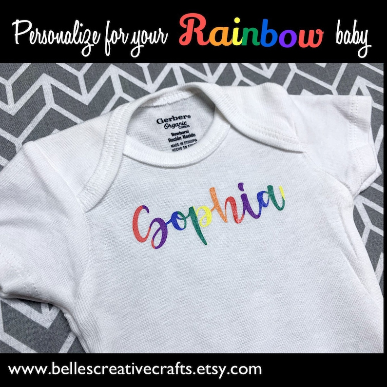 Rainbow Baby ONESIE ADD a baby gift to your Rainbow Sweet Pea necklace!