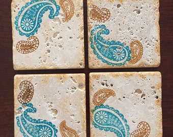 Drink Coaster ** Paisley Brown and Blue ** Set of 4 tile Coasters ** Gift for Mom * Gifts for Girlfriend * Wedding Gift * Gifts for Mom