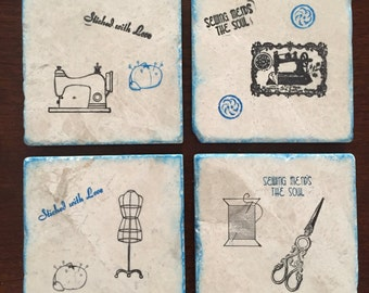 Drink Coaster ** Sewing ** Set of 4 tile Coasters ** Gift for Mom * Gifts for Girlfriend * Wedding Gift * Gifts for Mom