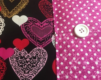 Table Runner - House Warming Gift - Handmade Gift - Valentine's Day  ** Hearts and Dots Runner **Gift for Mom - Gift for Wife
