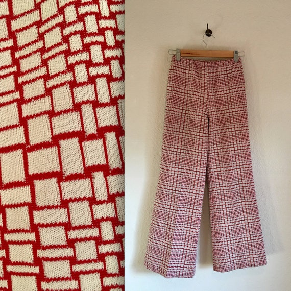 1970s Flare Pants Red Bellbottoms Gingham Check Po