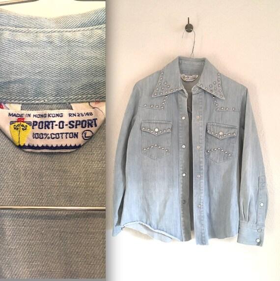 1970s Denim Jacket Shirt Port-O-Sport Studded Ronc