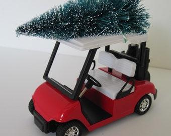 Golf Cart Red Large Christmas Ornament Christmas Village Christmas